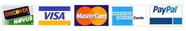 Master Card, Visa, American Express, Discover, PayPal, Bank Transfer